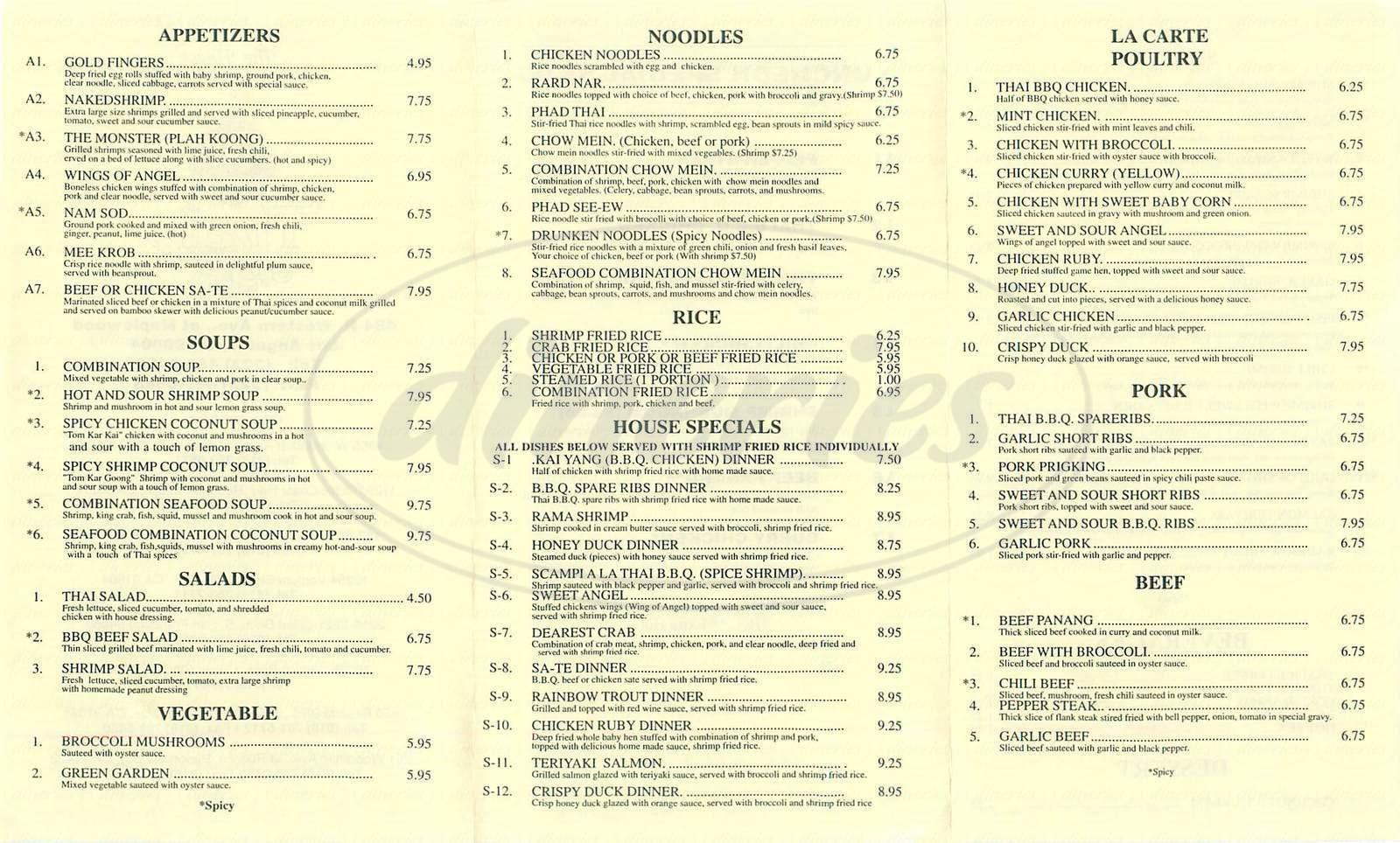 menu for Thai Original B B Q Express