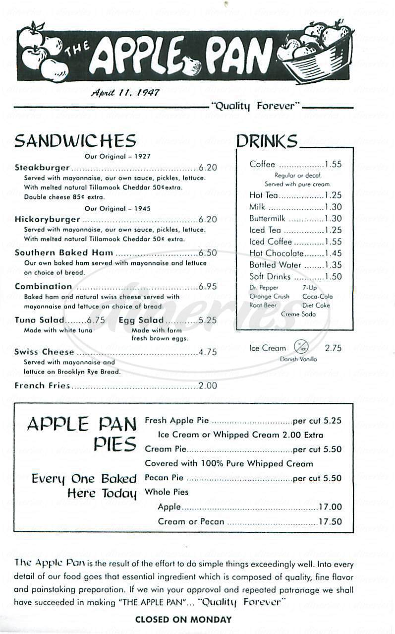 menu for The Apple Pan
