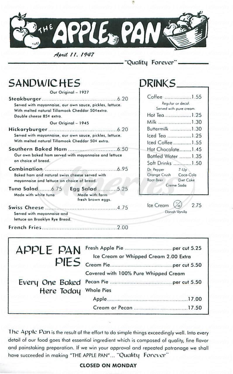 menu for The Apple Pan
