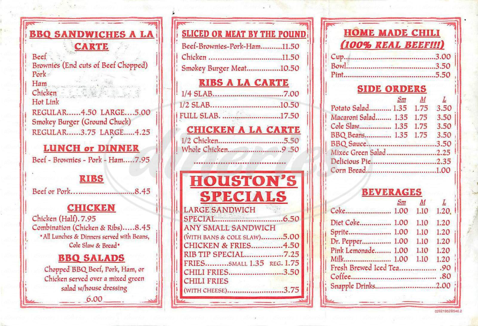 menu for Huston's Texas Pit BBQ