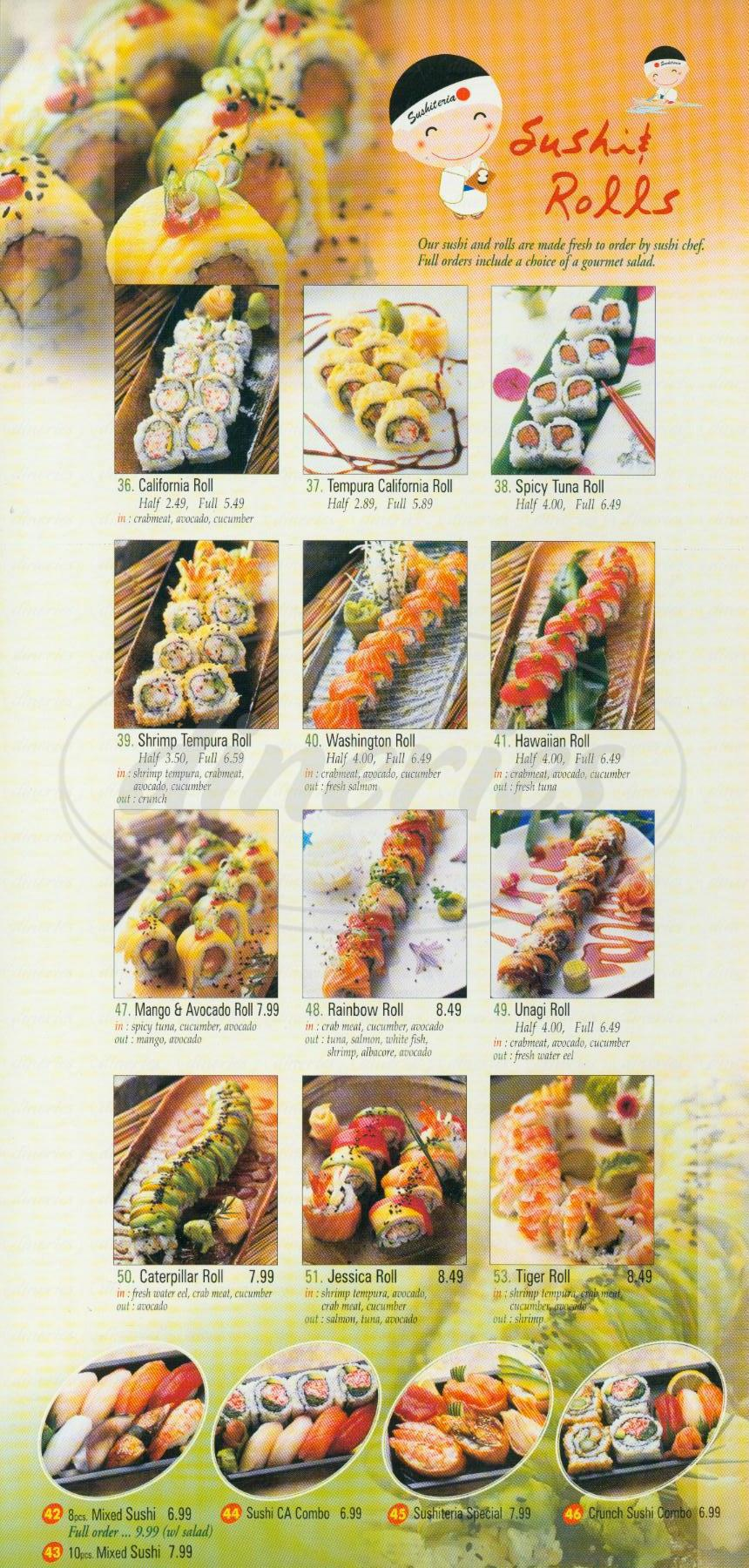 menu for Sushiteria