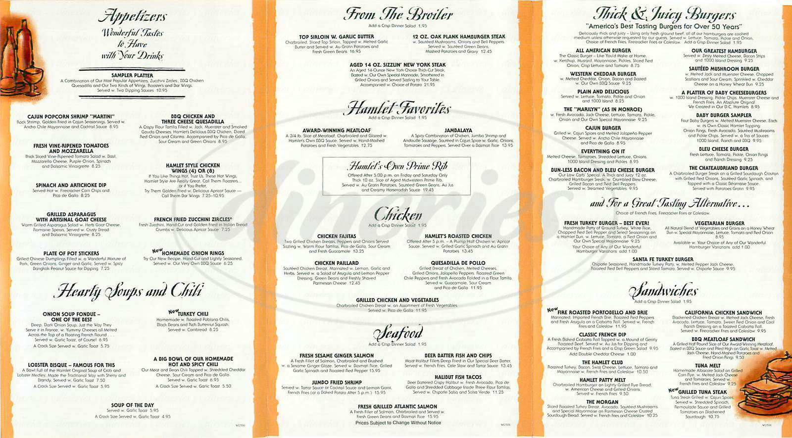 Big menu for Hamburger Hamlet, Los Angeles