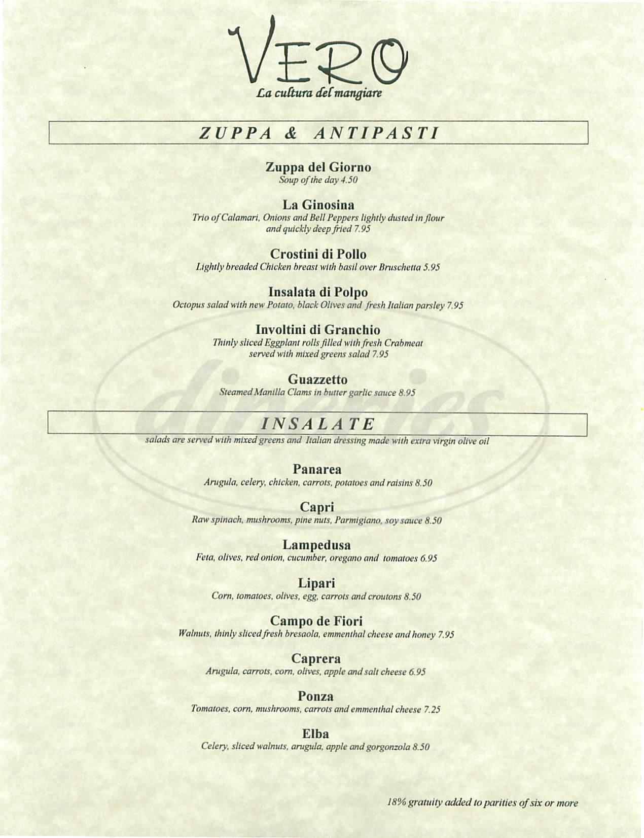 menu for Vero