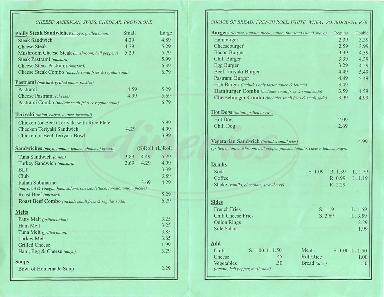 menu for Harvey's Sandwich Shop