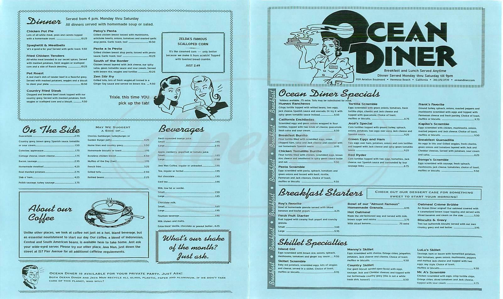 menu for Ocean Diner