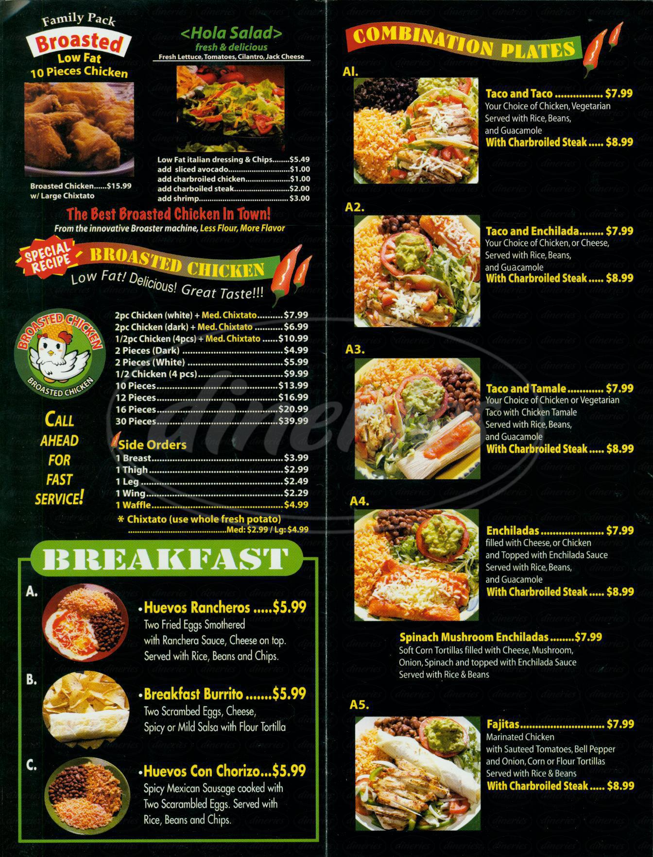 menu for Hola Fresh Mexican Grill