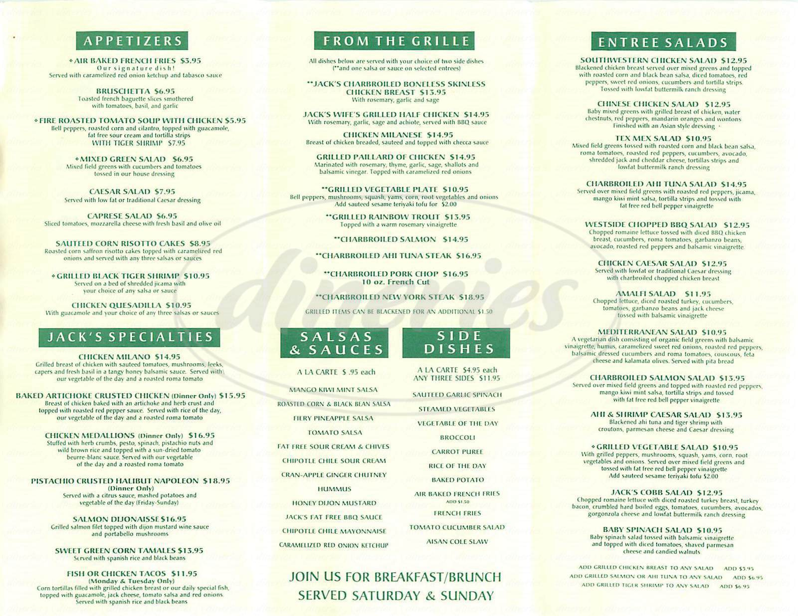 menu for Jack Sprats Grille