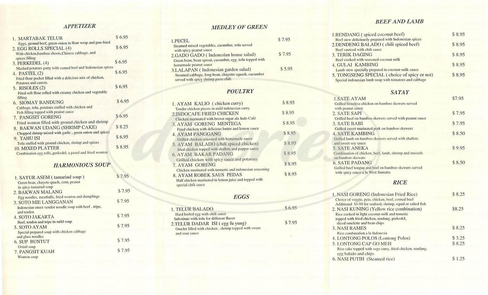 menu for Indo Café
