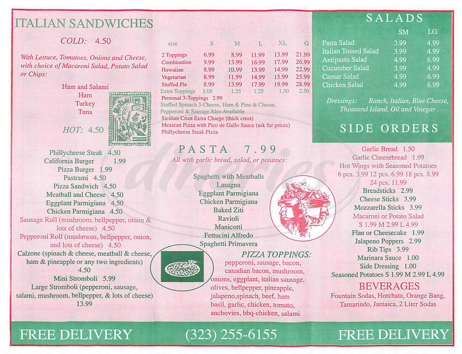 menu for Italiano's Pizza