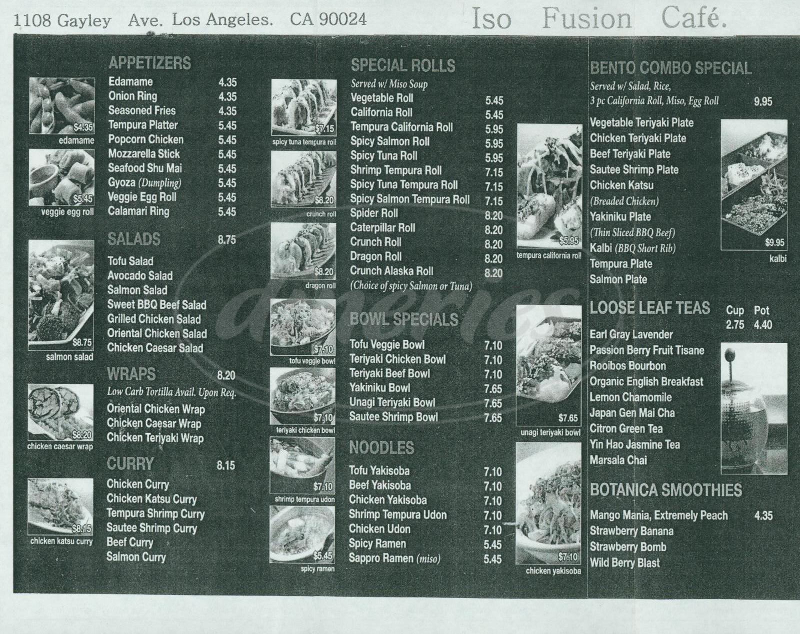menu for Iso Fusion Café