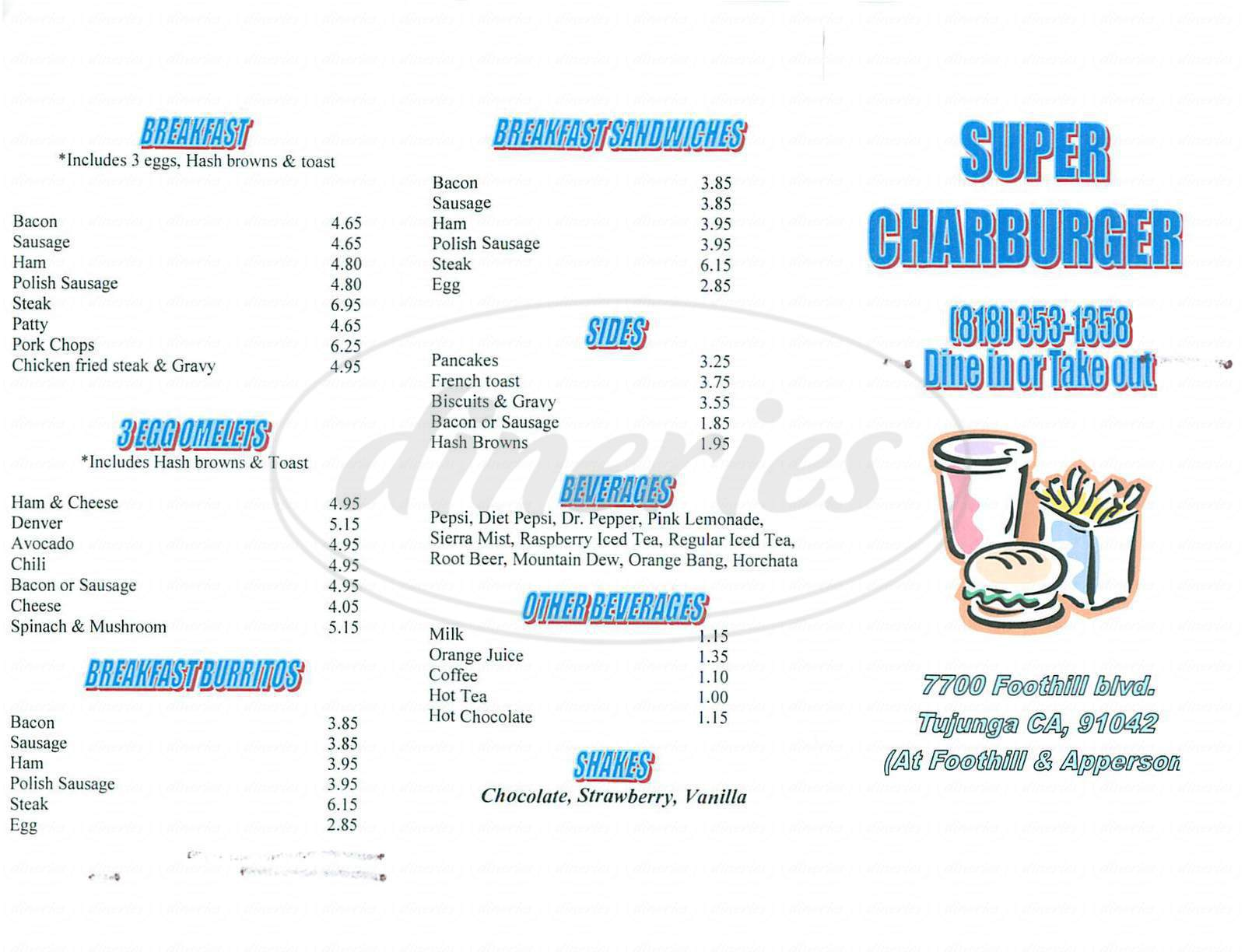 menu for Super Charburger