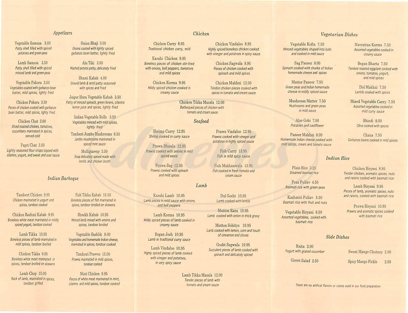 menu for Jaipur Cuisine of India
