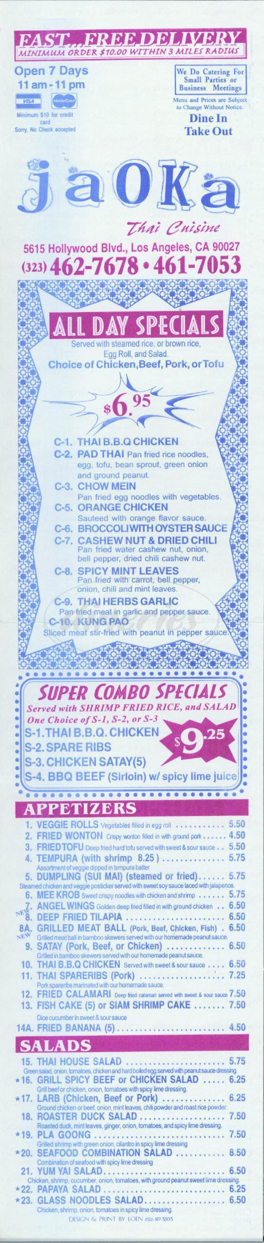 menu for Jaoka Thai Cuisine