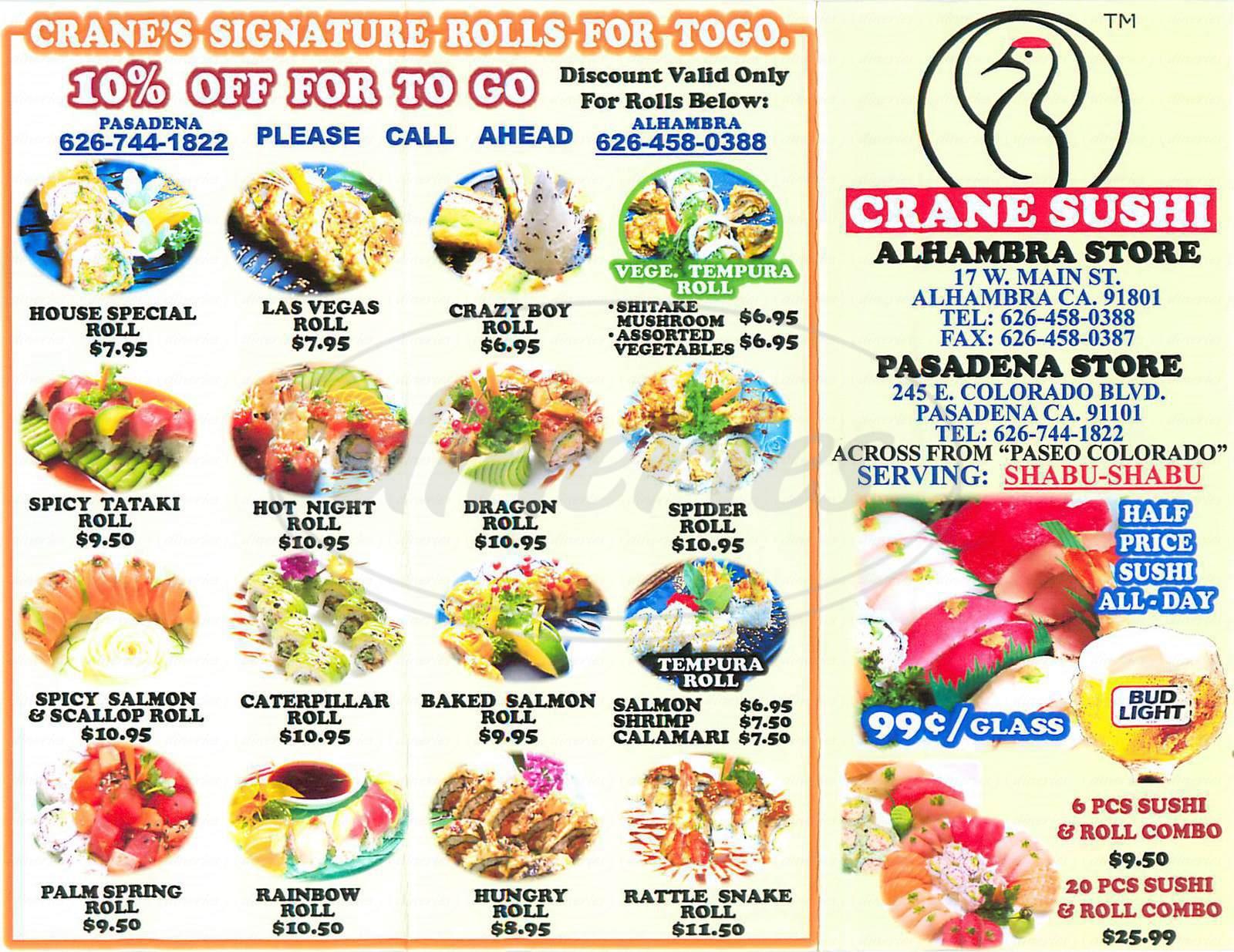 menu for Crane Sushi