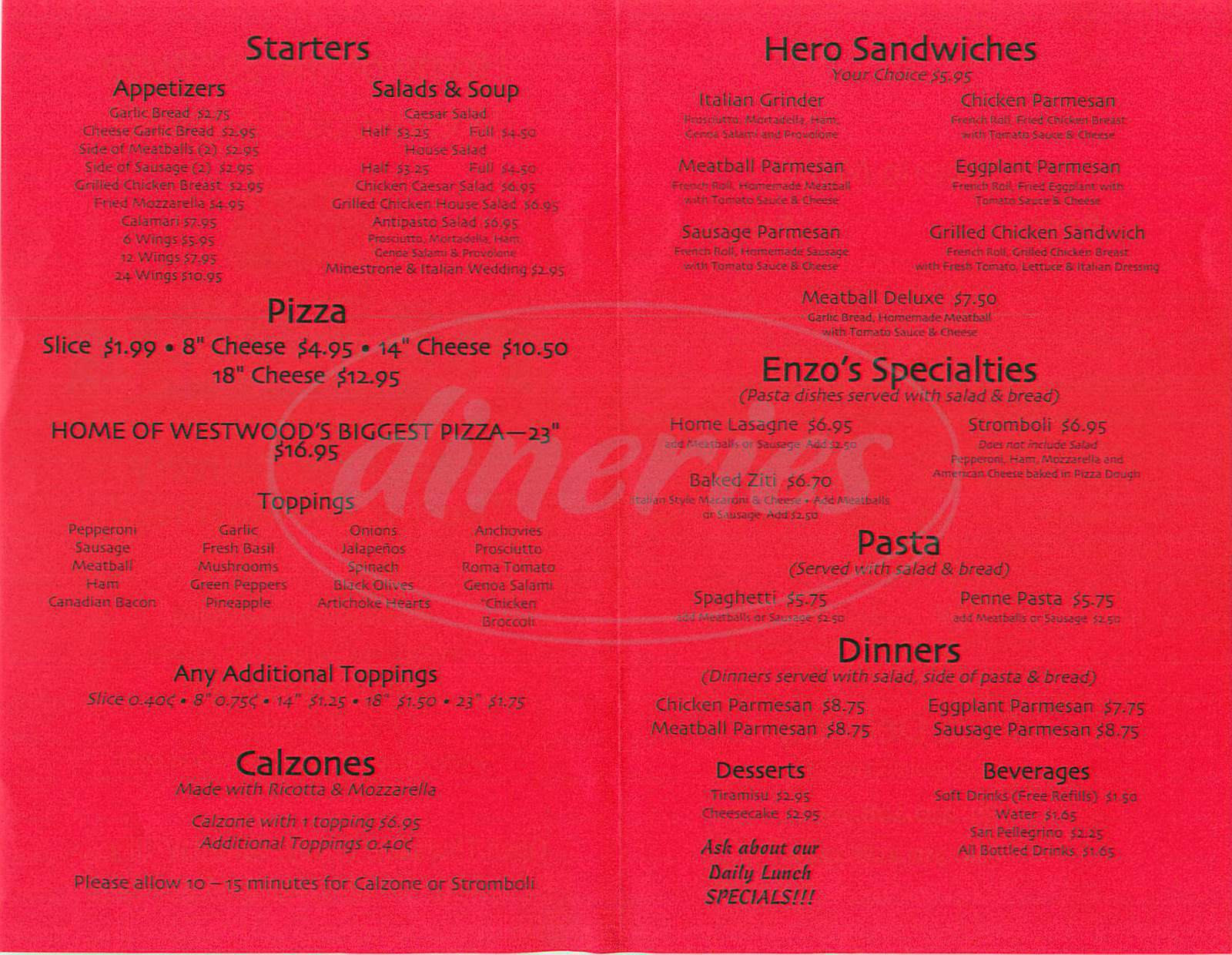 menu for Enzo's Pizzeria