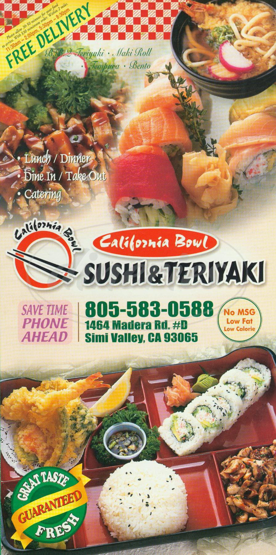 menu for California Bowl Sushi & Teriyaki