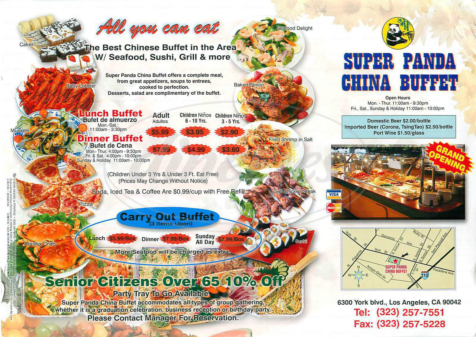 menu for Super Panda China Buffet