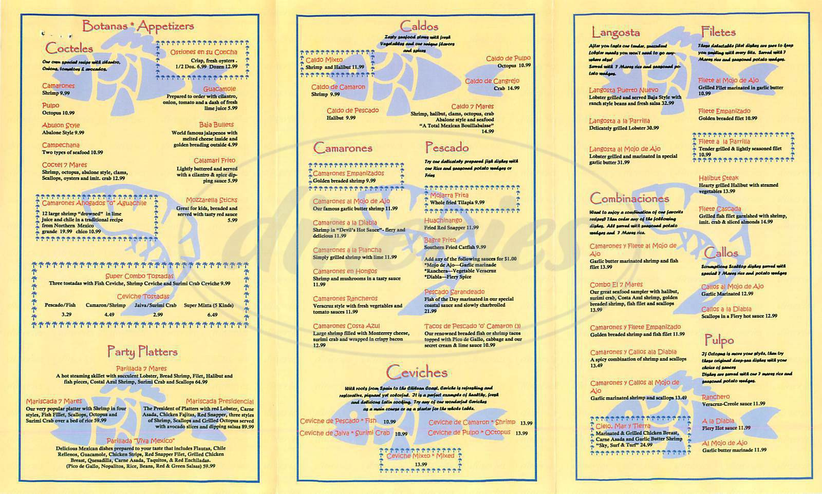 menu for El Original Siete Mares