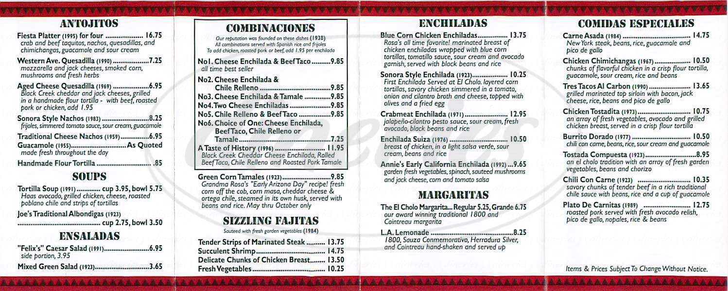 menu for El Cholo Cafe