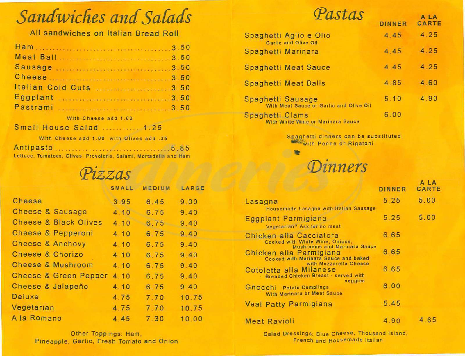 menu for Folliero's