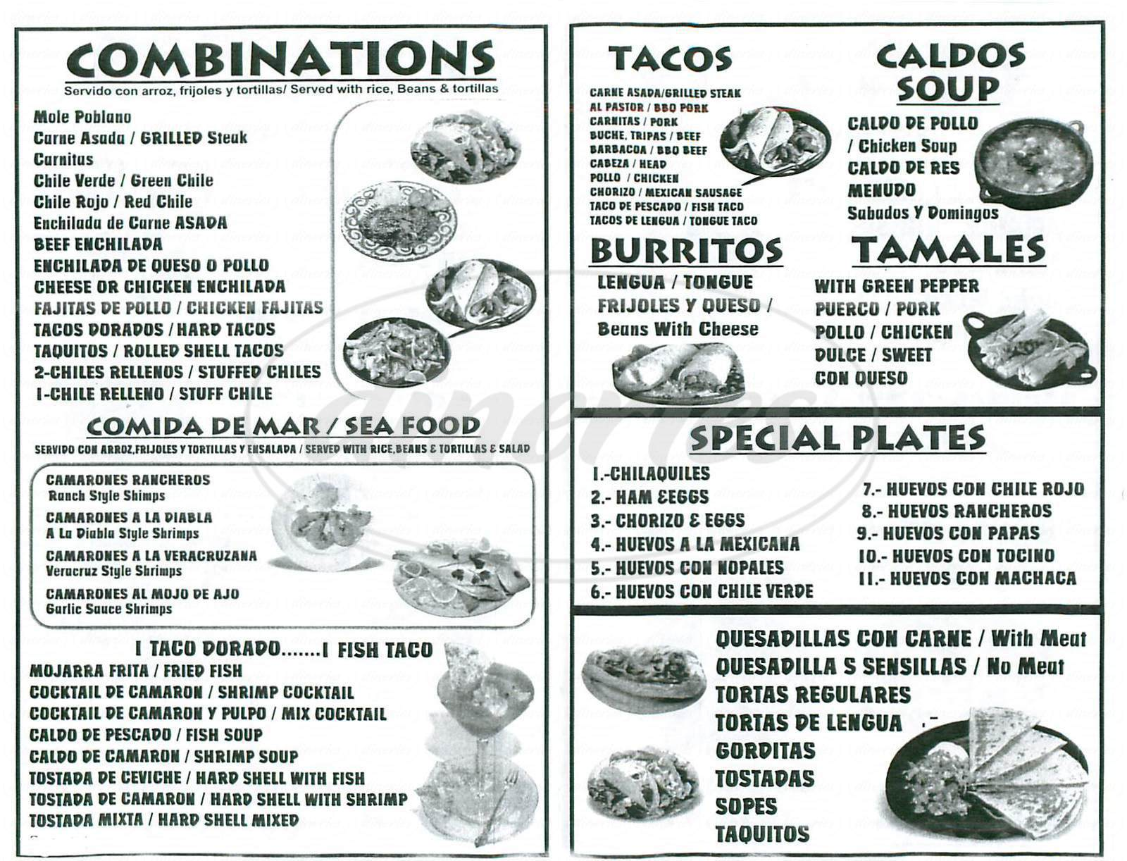 menu for Pepes Tacos