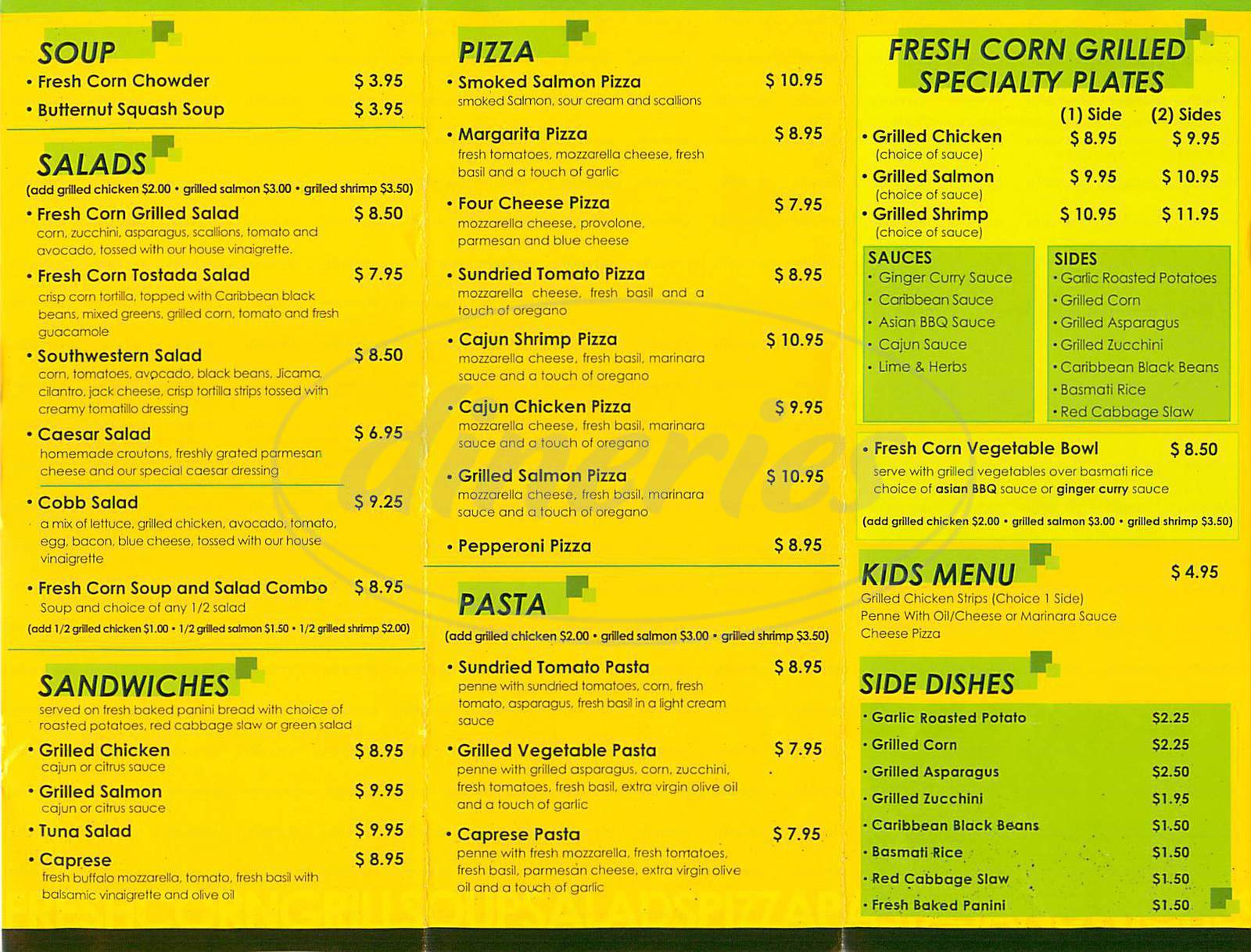 menu for Fresh Corn Grill