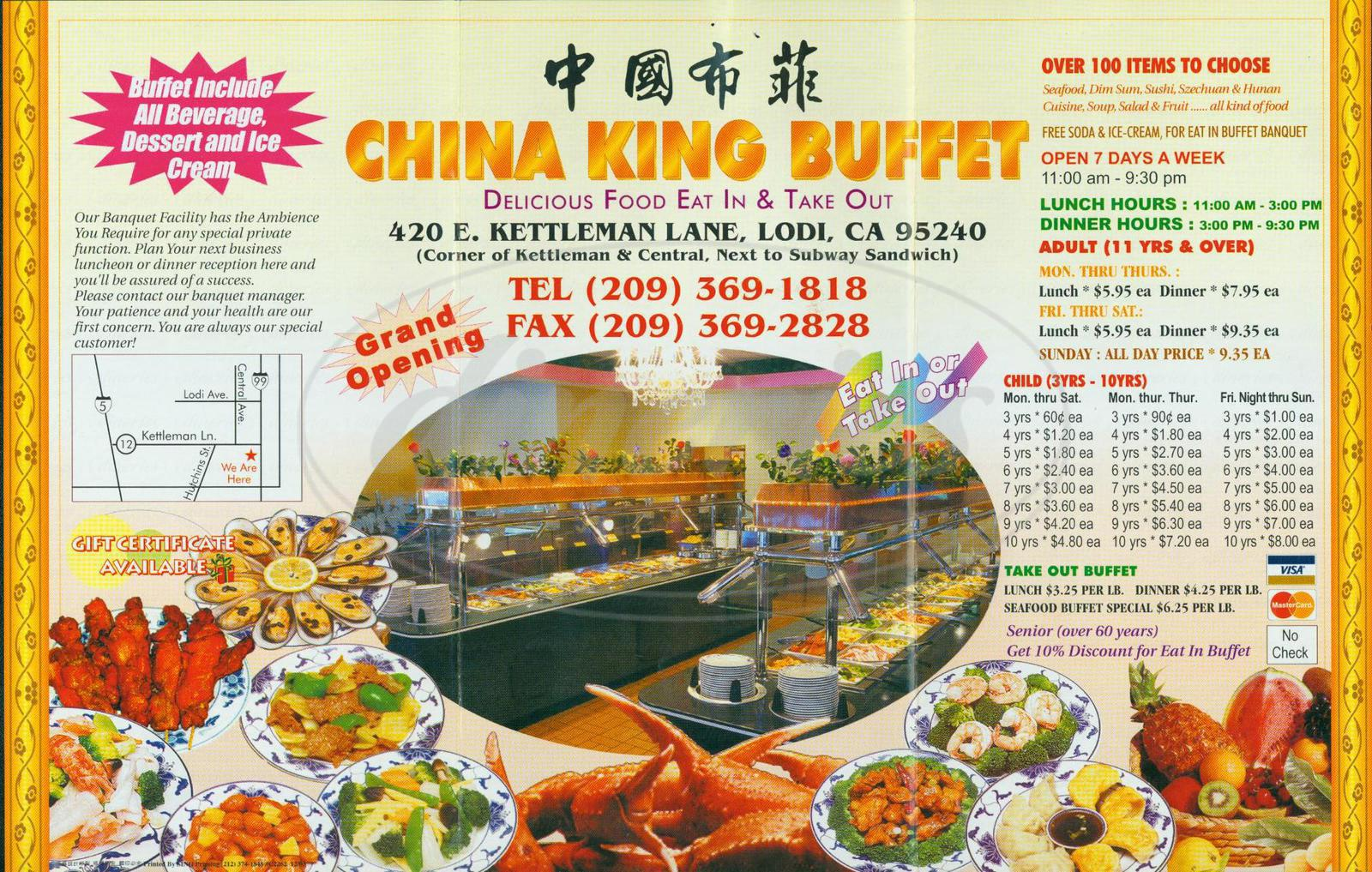 menu for China King Buffet