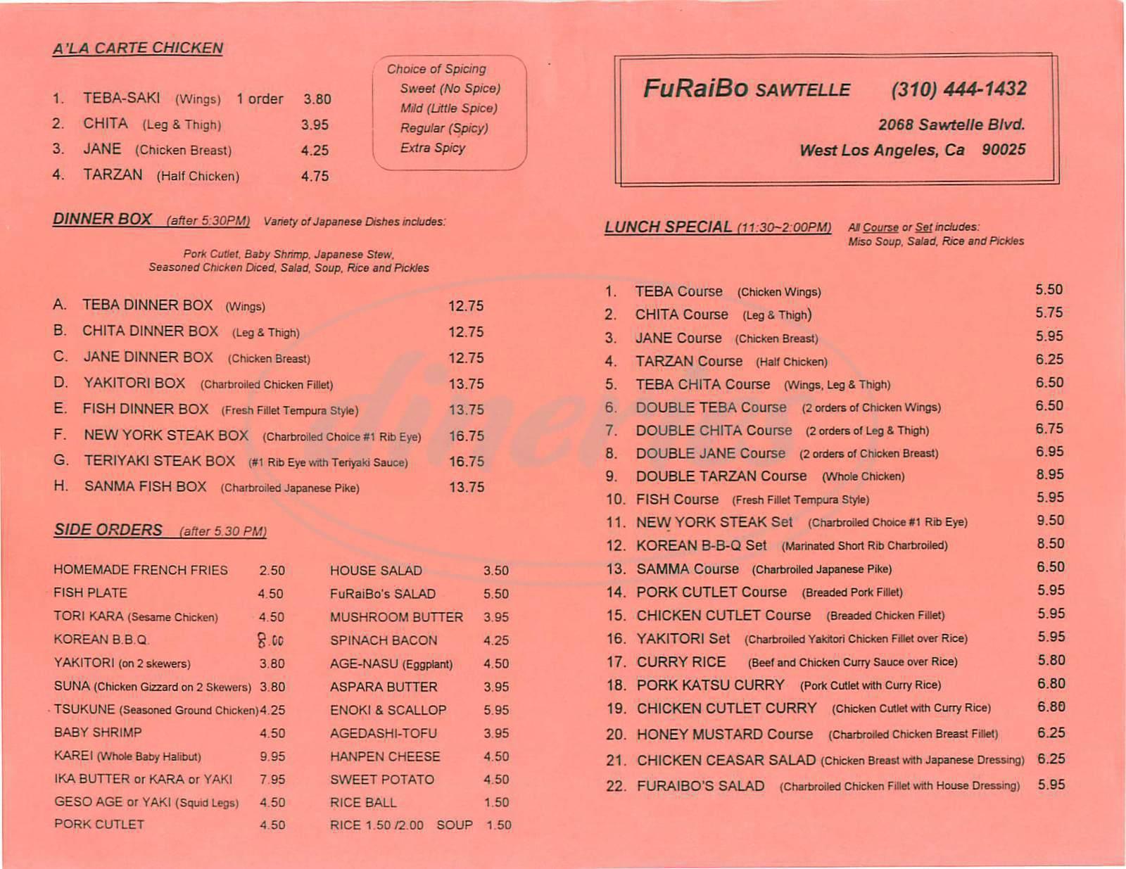 menu for Furaibo