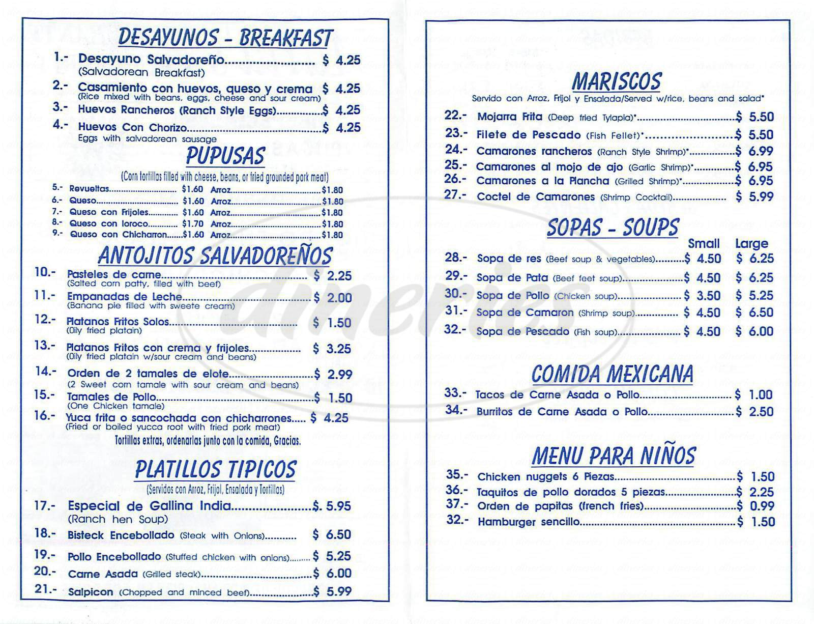 menu for Marias Restaurant
