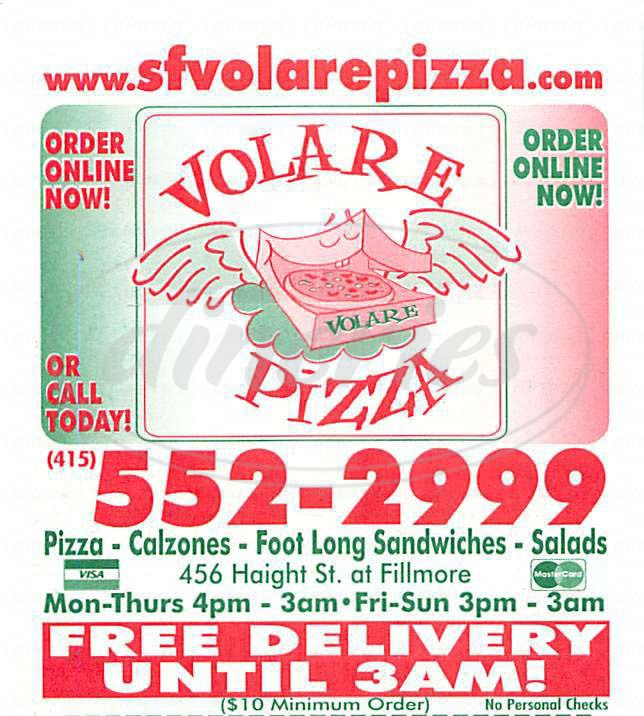 menu for Volare Pizza