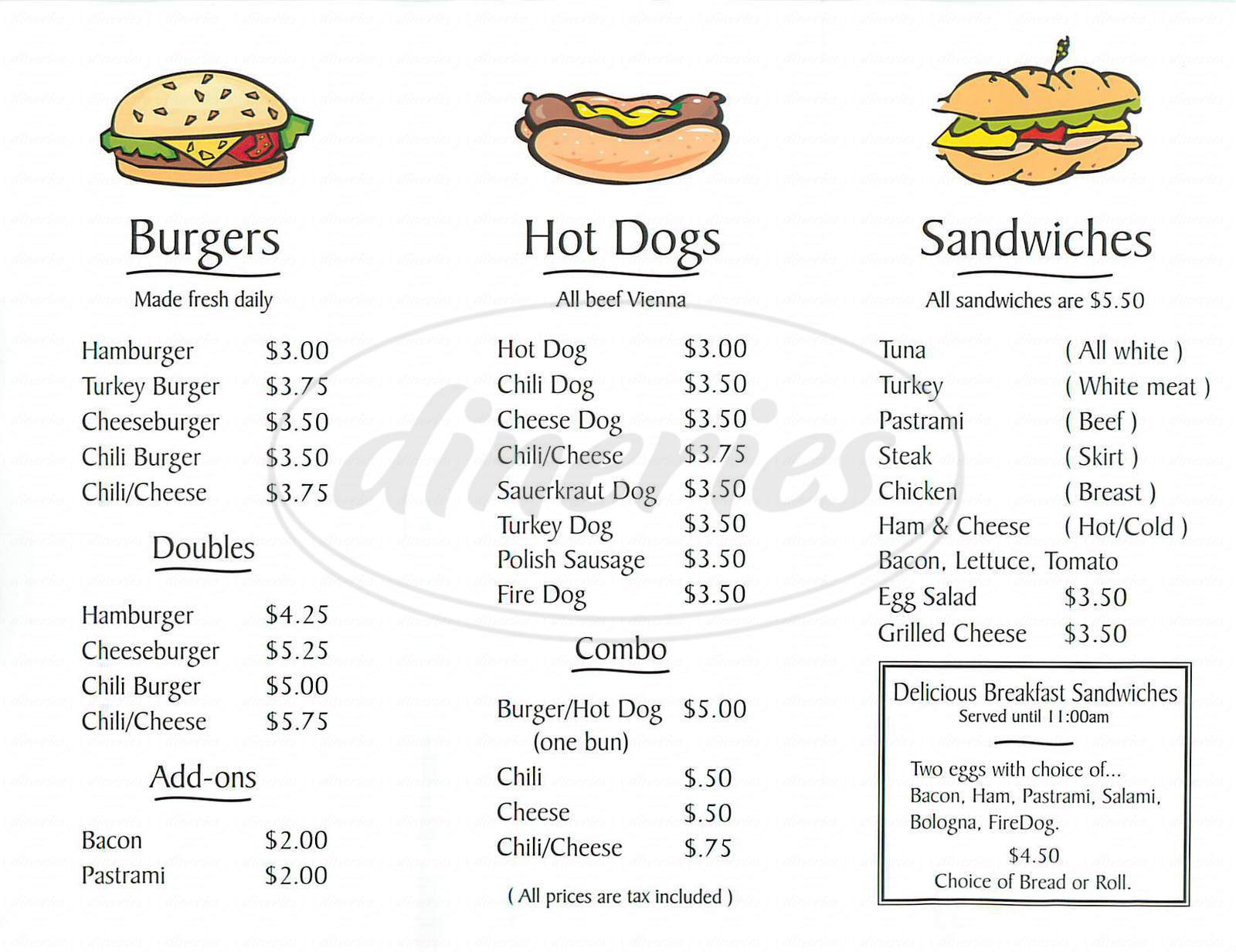 menu for Marty's Hamburger Stand