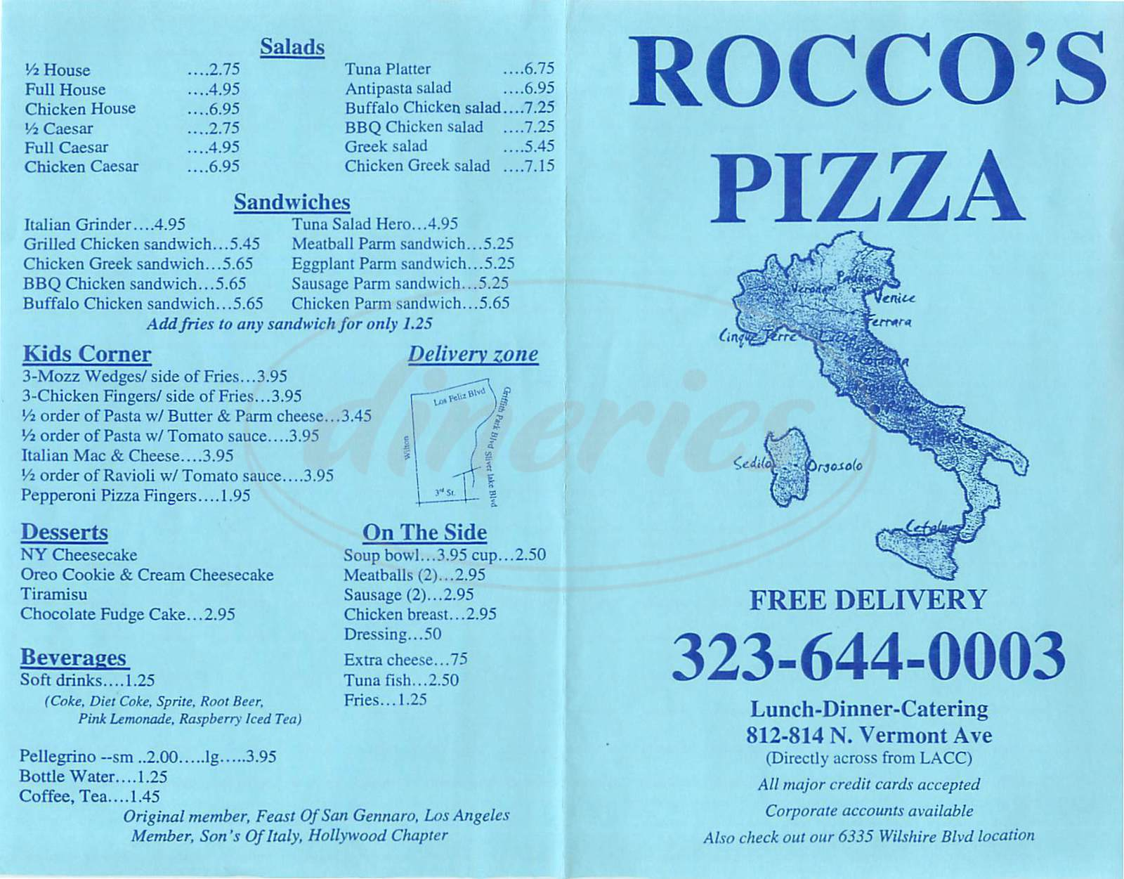menu for Roccos Pizza