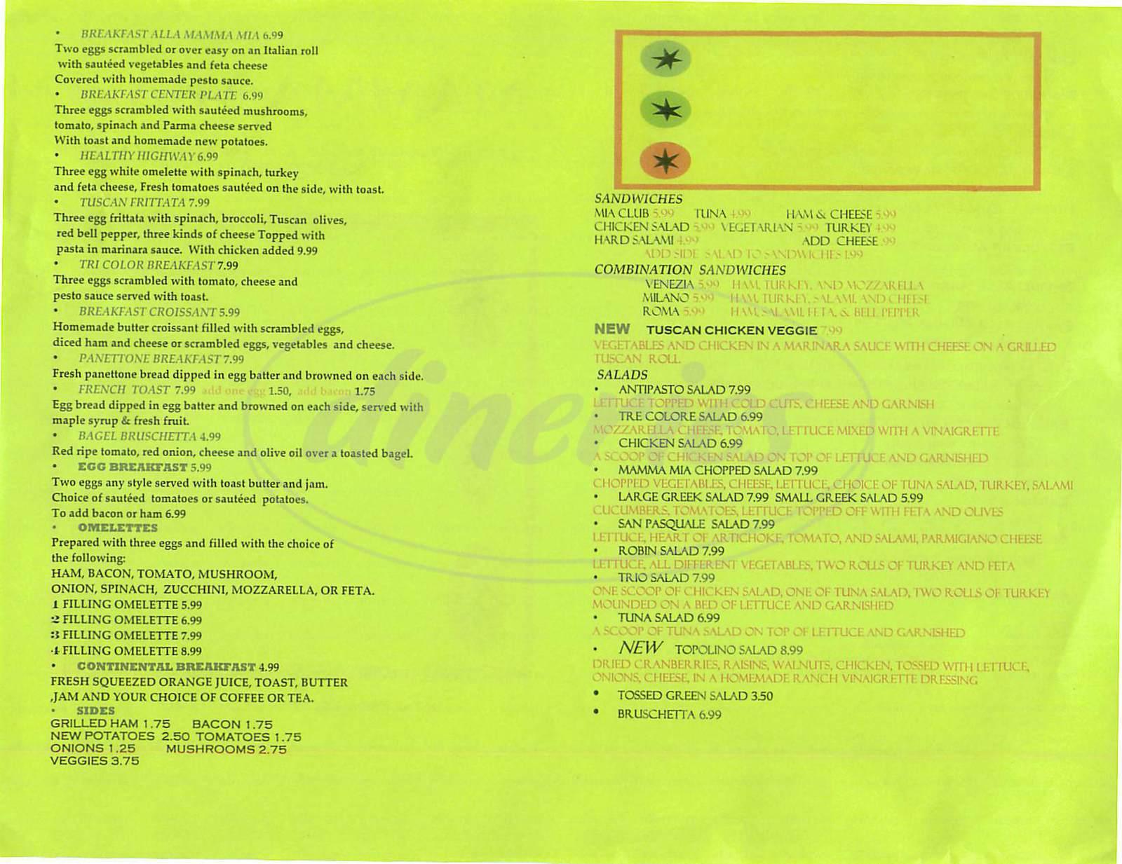 menu for Mama Mia Café