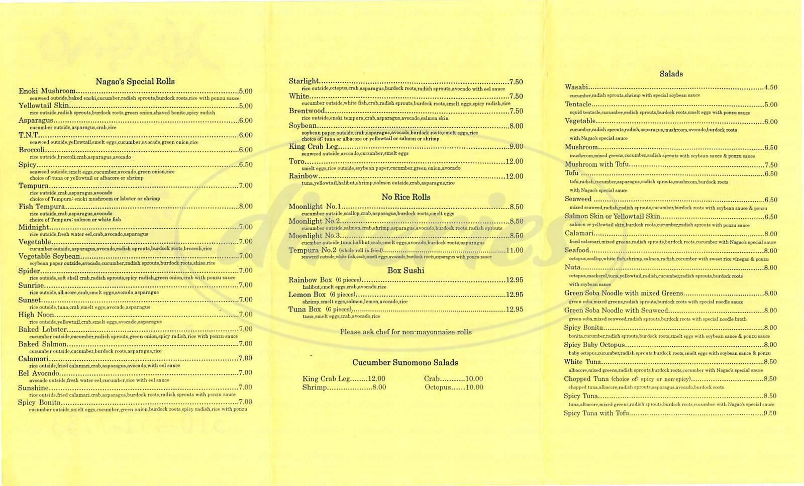 menu for Nagao