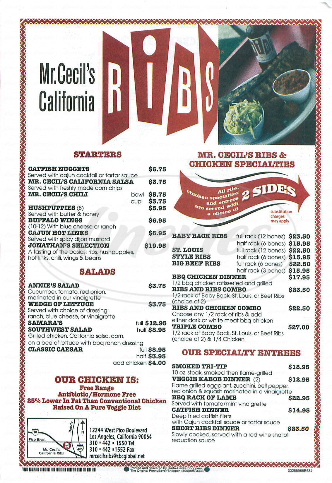 menu for Mr Cecils California Ribs