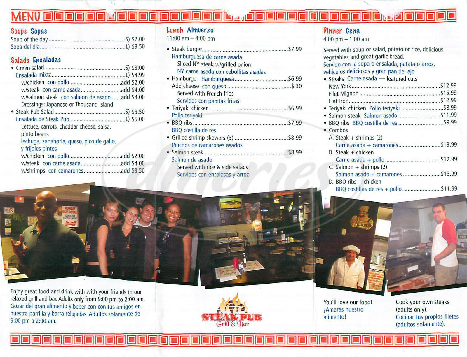 menu for Steak Pub Grill & Bar