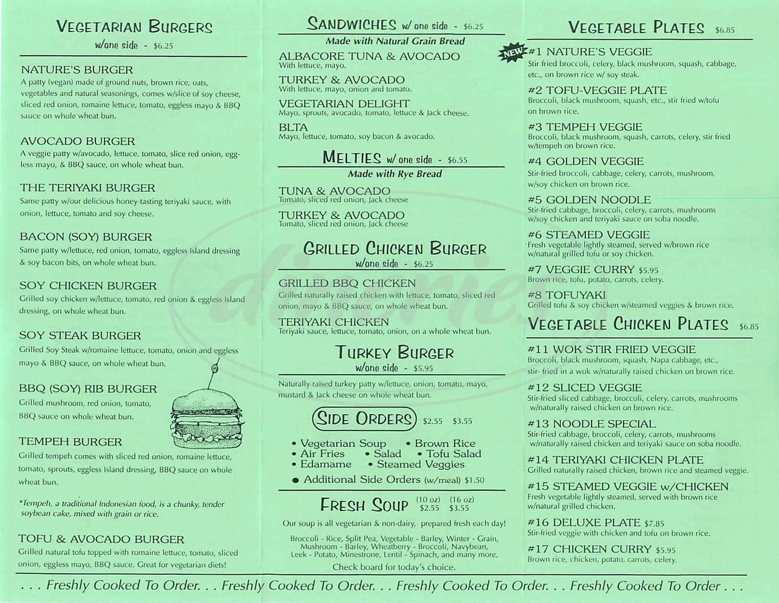 menu for Natures Way Café