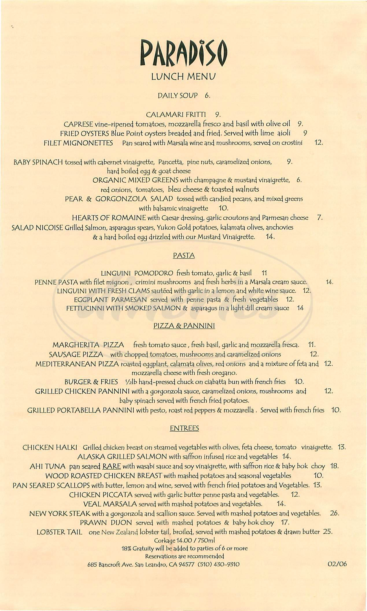 menu for Paradiso Restaurant