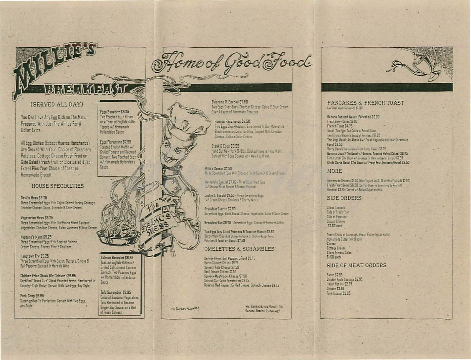menu for Millies Restaurant