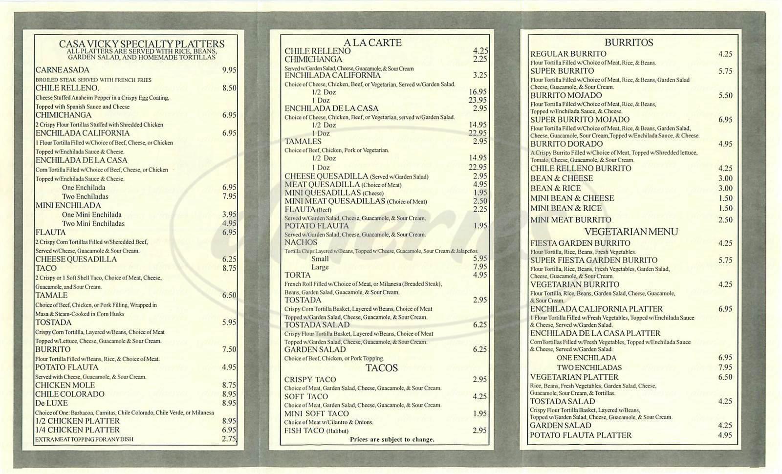 menu for Casa Vicky