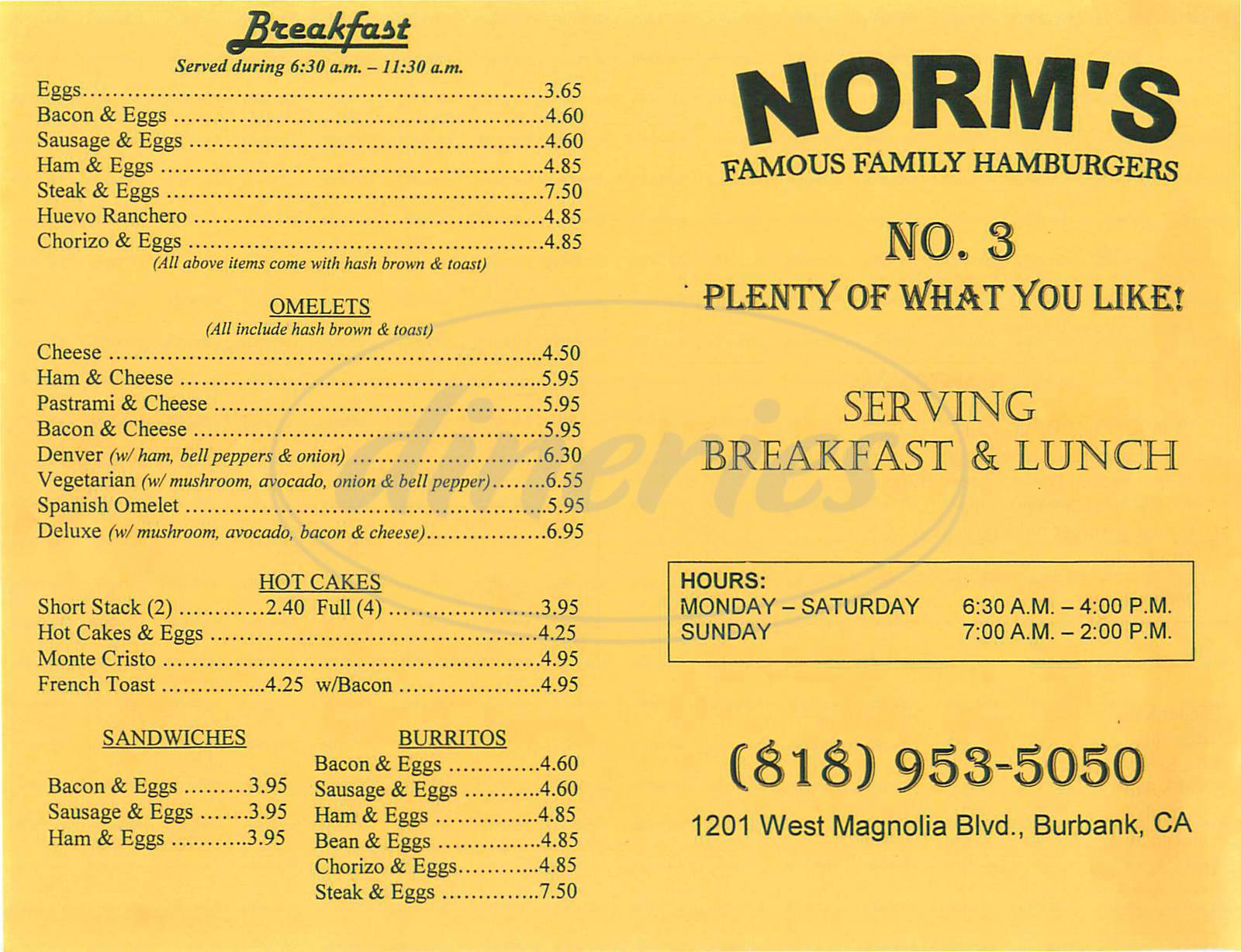 menu for Norms Hamburger No 3