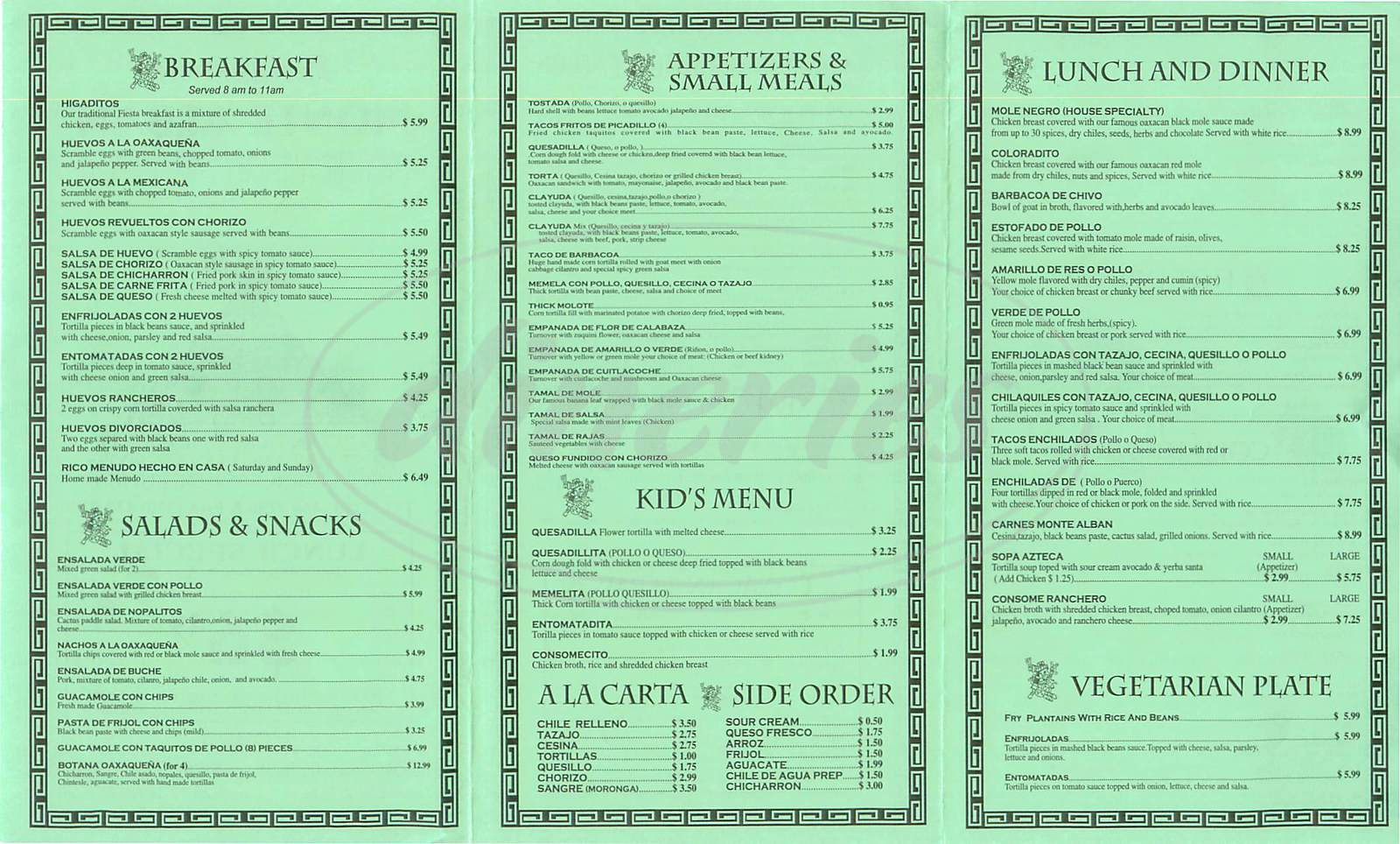 menu for Monte Alban Restaurante