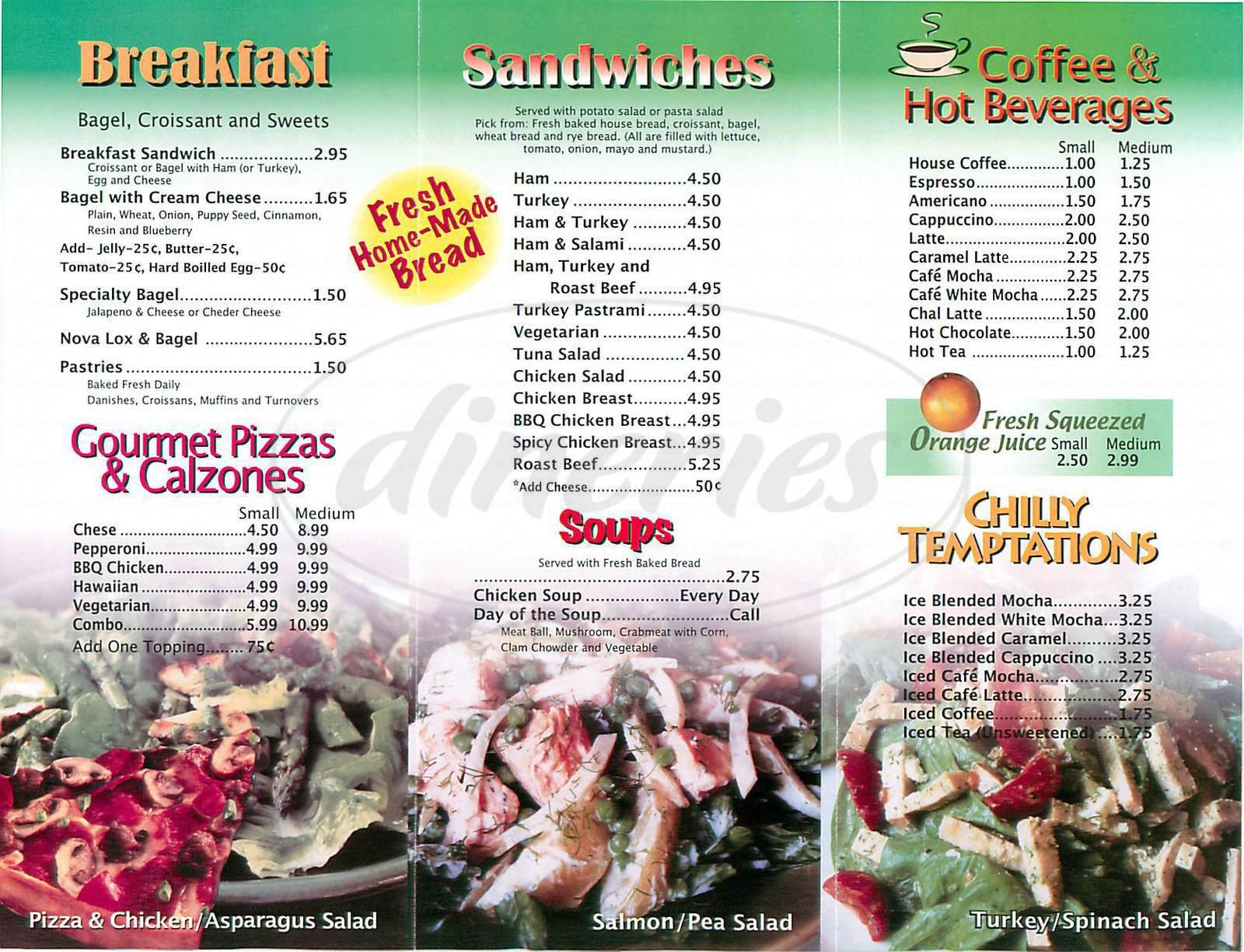 menu for Mocha Java Express