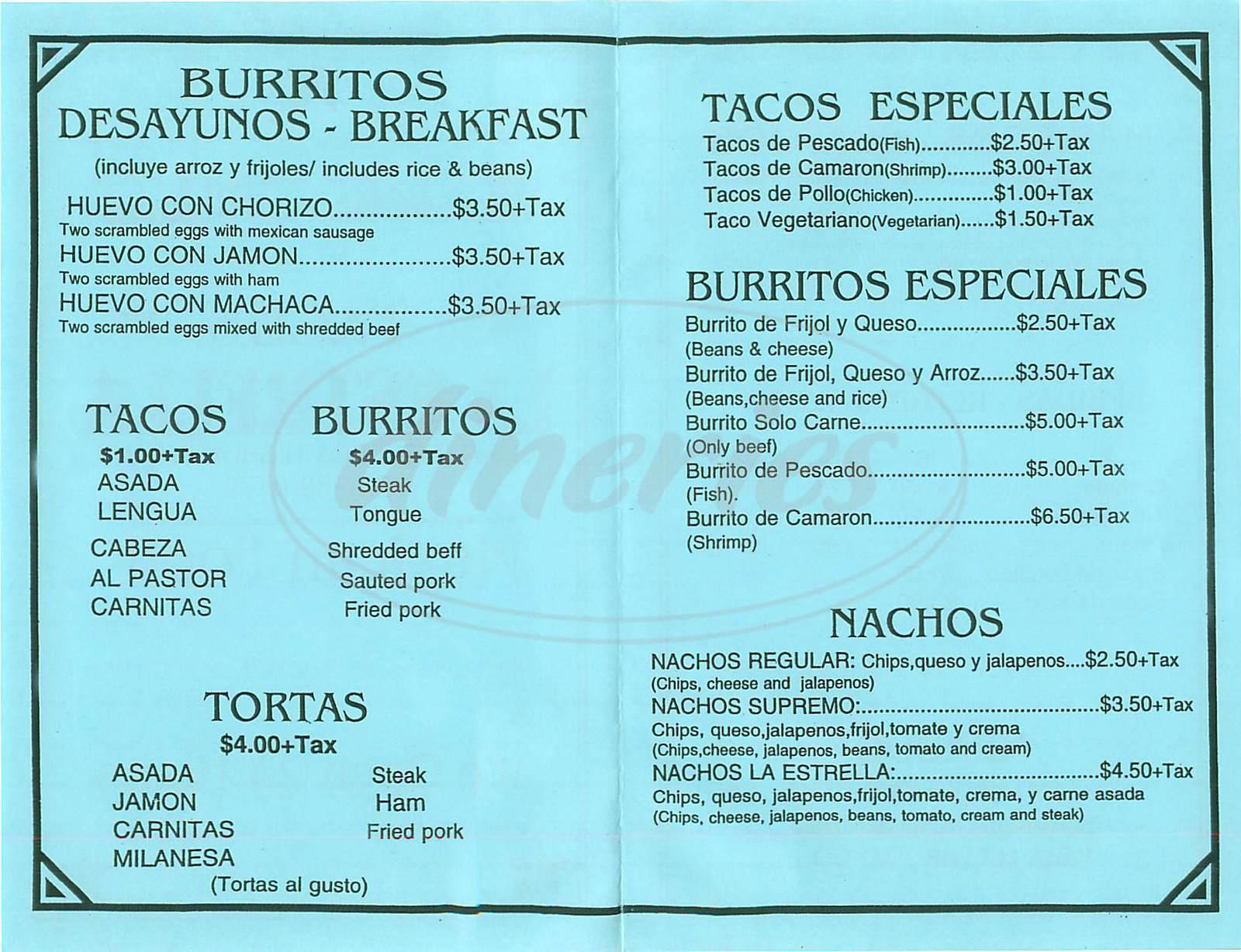 menu for La Estrella