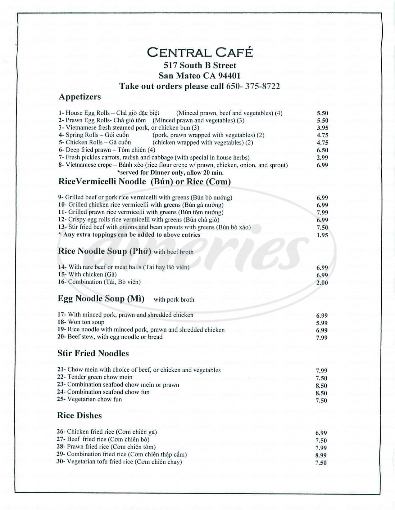 menu for Central Café