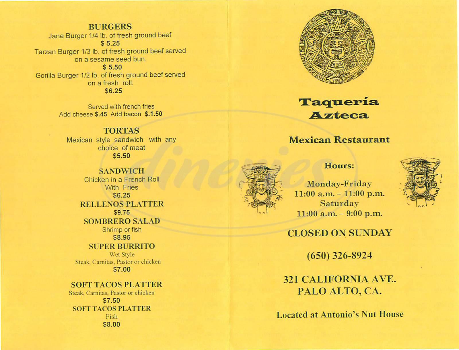 menu for Taqueria Azteca