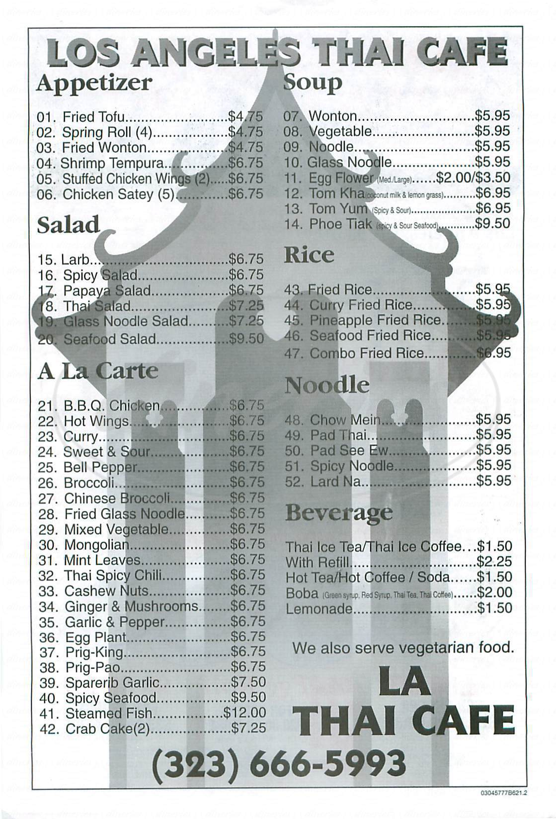 menu for L A Thai Café
