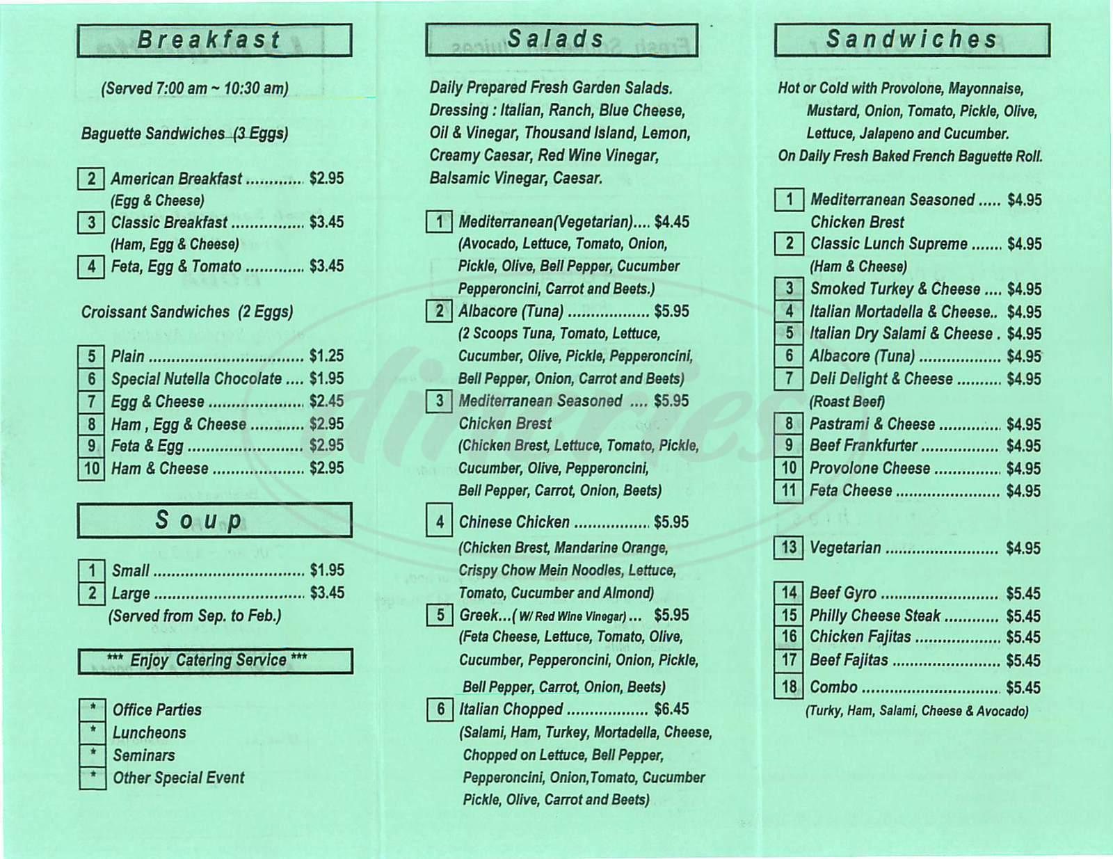 menu for La Baguette
