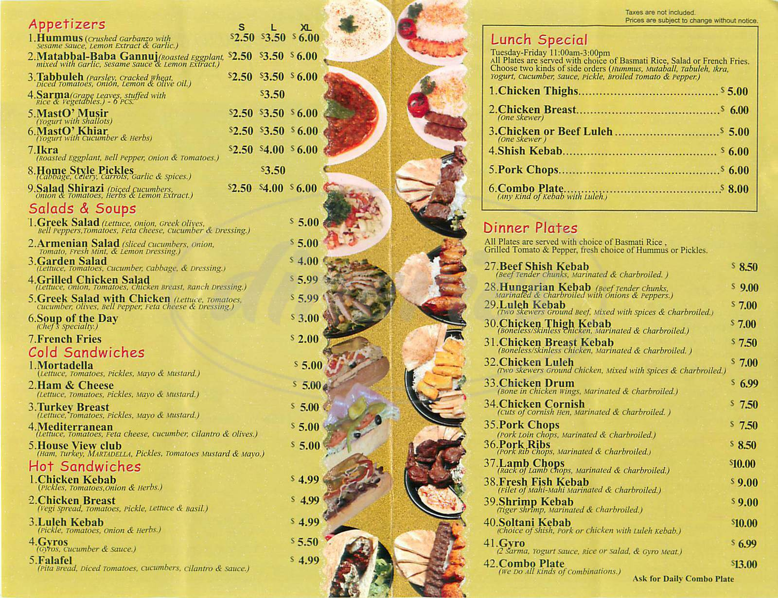 menu for Caravan Restaurant