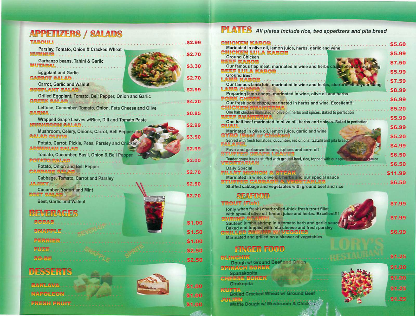 menu for Lory's Restaurant